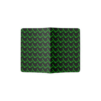 Neon Chevron Pattern Black and Green Passport Holder