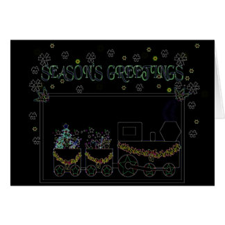 Neon Christmas Train Card