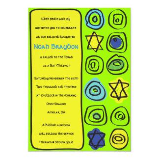 NEON CIRCLES and SQUARE Bar Bat Mitzvah Invitation