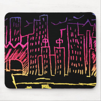 Neon Cityscape Mouse Pad