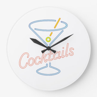 Neon Cocktails Sign Clock