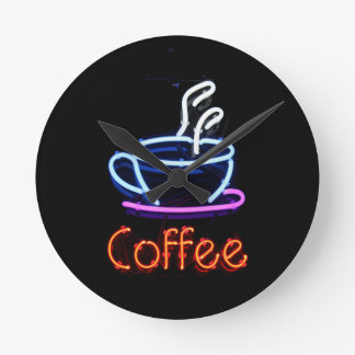 Neon Coffee Sign Round Clock