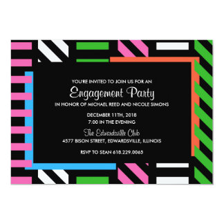 Neon Color Block Engagement Party Invitation
