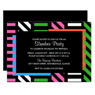 Neon Color Block Sleepover Birthday Party Invite