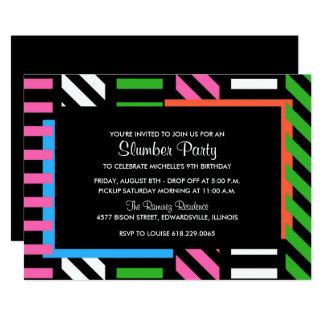 Neon Color Block Sleepover Birthday Party Invite