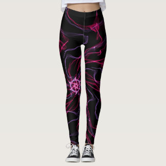 Neon Colored Smoke Mandala on Black Leggings
