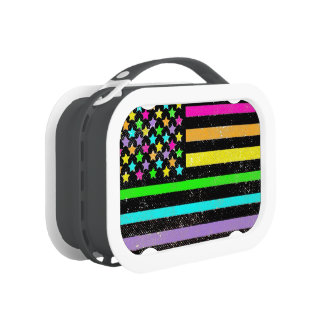 Neon colors American flag lunch box