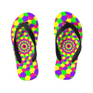 Neon Colors Design Kid's Flip Flops