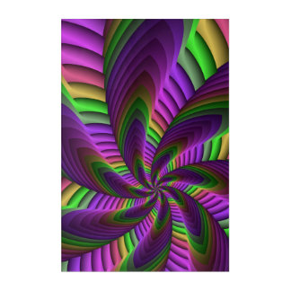 Neon Colors Flash Crazy Colorful Fractal Pattern Acrylic Wall Art