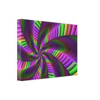 Neon Colors Flash Crazy Colorful Fractal Pattern Canvas Print