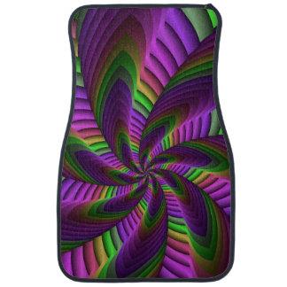 Neon Colors Flash Crazy Colorful Fractal Pattern Car Mat