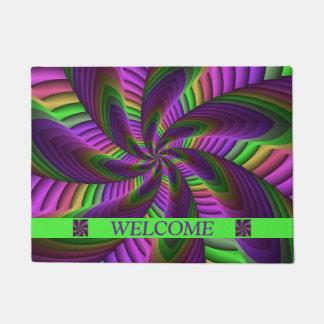 Neon Colors Flash Crazy Colorful Fractal Pattern Doormat