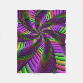 Neon Colors Flash Crazy Colorful Fractal Pattern Fleece Blanket