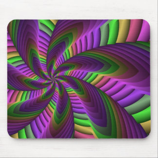 Neon Colors Flash Crazy Colorful Fractal Pattern Mouse Pad