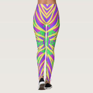 Neon colors graffiti lines leggings