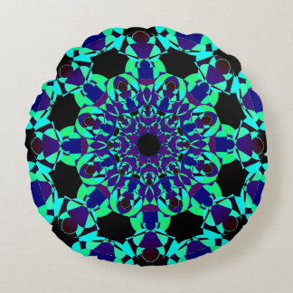 Neon Colors Mandala Round Pillow
