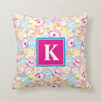 Neon Colors Pattern | Monogram Throw Pillow