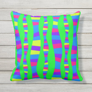 Neon Colours Retro Modern Pattern Psychedelic Outdoor Pillow