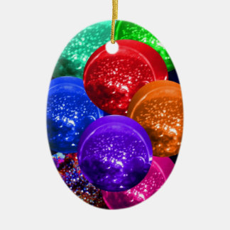 Neon Crystal Space Balls Ceramic Ornament