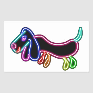 Neon Dachshund Rectangle Sticker