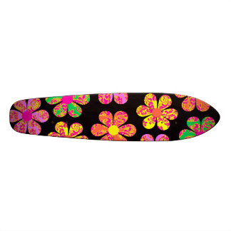 Neon Damask Flowers Skateboard Decks