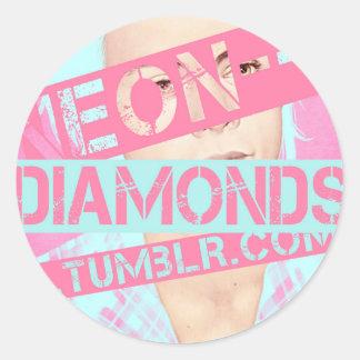 neon--diamonds round sticker