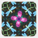Neon Dragonflies Pink Flower Black Shimmer Pattern