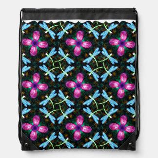 Neon Dragonflies Pink Flower Black Shimmer Pattern Drawstring Bag