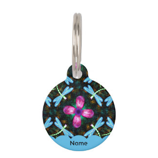 Neon Dragonflies Pink Flower Black Shimmer Pattern Pet ID Tag
