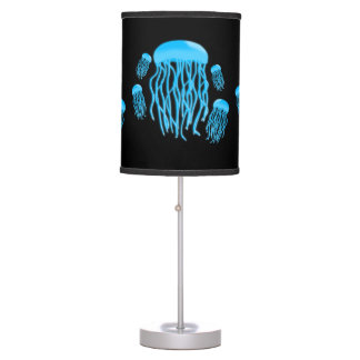 Neon Electric Blue Glowing Jellyfish Family Desk Lamps