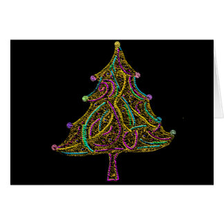 Neon Electric Christmas Tree Card