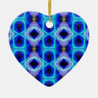 Neon Electrical Blue Abstract Pattern Ceramic Heart Ornament