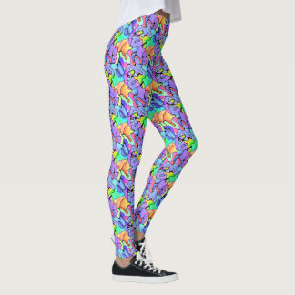 Neon Exotic Tropical Freeform Splashes Leggings