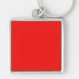 Neon Fire Engine Cherry Red Bright Fashion Color Silver-Colored Square Keychain