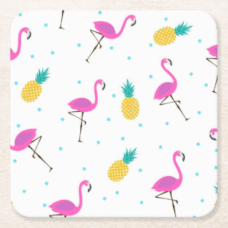 Neon Flamingos 2 2 Square Paper Coaster