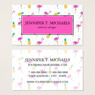 Neon Flamingos | Monogram 2 Business Card