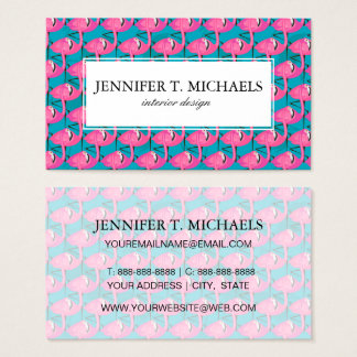 Neon Flamingos | Monogram Business Card