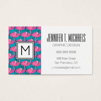 Neon Flamingos | Monogram Business Card