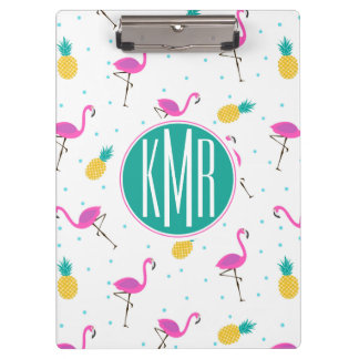 Neon Flamingos | Monogram Clipboard