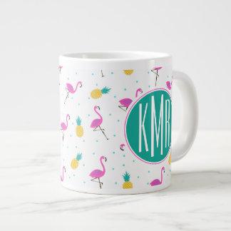 Neon Flamingos | Monogram Large Coffee Mug