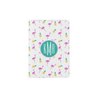 Neon Flamingos | Monogram Passport Holder