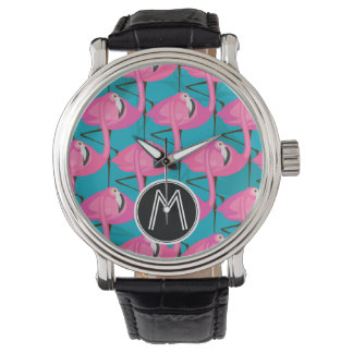 Neon Flamingos Two   Add Your Initial Watch