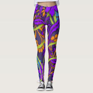 Neon floral burst colorful leggings