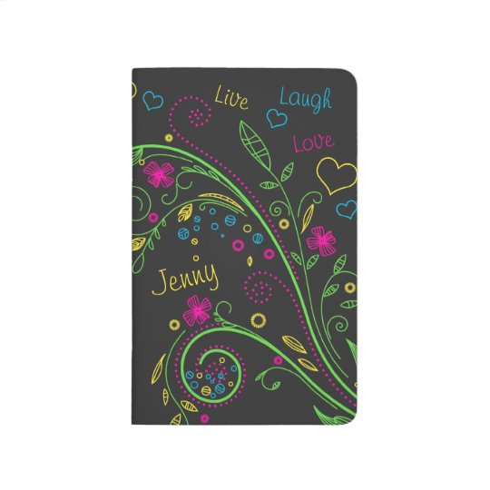 Neon Floral Live Love Laugh Personalized Journals