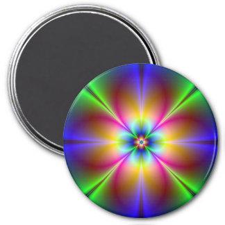Neon Flower 3 Inch Round Magnet