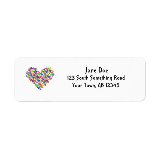 Neon Flower Heart Return Address Label