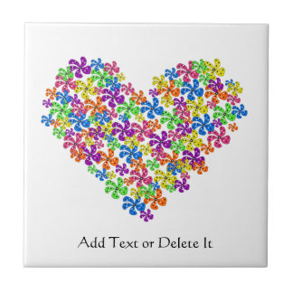 Neon Flower Heart Tile