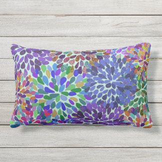 Neon Flower Petals Outdoor Pillow