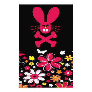 Neon Flowers Bunny Set Stationery Design