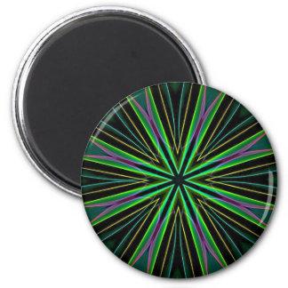 Neon Fluorescent Green Lavender Star Burst 2 Inch Round Magnet